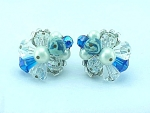 VINTAGE COSTUME JEWELRY - VENDOME BLUE & CLEAR AURORA BOREALIS CRYSTAL EARRINGS