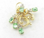 VINTAGE COSTUME JEWELRY - ART NOUVEAU STYLE GREEN RHINESTONE BROOCH OR PENDANT
