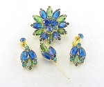 VINTAGE COSTUME JEWELRY - JULIANA RHINESTONE FLOWER BROOCH & CLIP EARRINGS SET