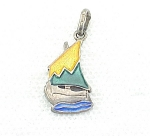 VINTAGE STERLING SILVER AND ENAMEL SAILBOAT CHARM OR PENDANT SIGNED ITALY