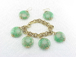 VINTAGE COSTUME JEWELRY - GREEN CONFETTI LUCITE BRACELET & PIERCED EARRINGS SET
