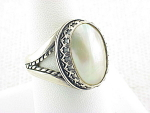 NATIVE AMERICAN STERLING SILVER AND MOTHER OF PEARL RING SIGNED CJ