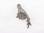 VINTAGE STERLING SILVER BIRD OF PARADISE PIN BROOCH