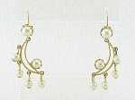 DANGLING CRESCENT MOON WITH PEARLS PIERCED EARRINGS