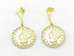 DANGLING CALIFORNIA GOLD COIN PIERCED EARRINGS