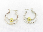 STERLING SILVER TWO TONE DOUBLE HOOP PIERCED EARRINGS SIGNED ITALY