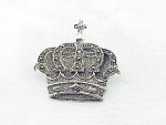 VINTAGE COSTUME JEWELRY - STERLING SILVER AND MARCASITE CROWN BROOCH OR PIN