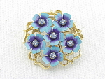 VINTAGE COSTUME JEWELRY - AVON BLUE ENAMEL & RHINESTONE FLOWERS BROOCH OR PENDANT