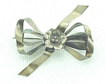 VINTAGE COSTUME JEWELRY - STERLING SILVER BOW AND FLOWER BROOCH PIN