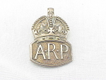 Click here to enlarge image and see more about item 08J2965: VINTAGE 1938 HALLMARKED ENGLISH STERLING SILVER WWII ARP AIR RAID PATROL BADGE