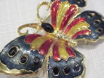 Click to view larger image of MULTICOLORED ENAMEL AND RHINESTONE BUTTERFLY BROOCH (Image2)