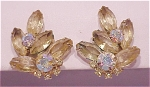 VINTAGE COSTUME JEWELRY - JULIANA PALE YELLOW & AB RHINESTONE CLIP EARRINGS