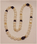 VINTAGE LONG BAROQUE PEARL AND BLACK GLASS BEAD NECKLACE