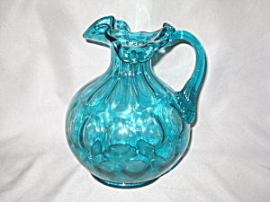Fenton Ocean Blue Coin Dot Pitcher