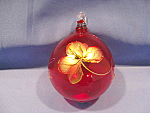 Fenton Golden Glimmer on Ruby Ornament (Image1)