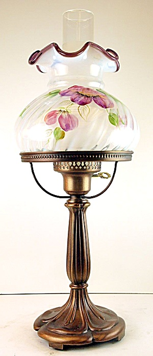Fenton French Opal. Purple Crest Student Lamp