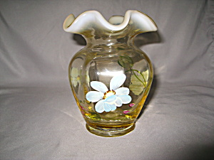 Fenton Daisy Blue On Silken Sand Vase