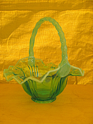 Fenton Robin's Egg Blue Sunray Basket