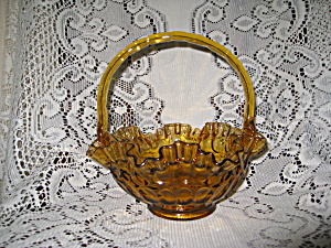 Fenton Colonial Amber Thumbprint Basket