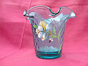 Fenton Robin's Egg Blue Diamond Optic Vase