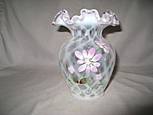 Fenton Diamond Optic Daisy Lane Vase W/pink C