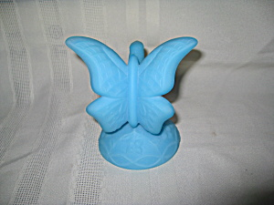 Fenton Blue Satin Butterfly On Stand
