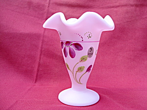Fenton Lavender Satin Diamond Optic Vase