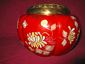 Fenton Chrysanthemum On Mandarin Red Box Conn