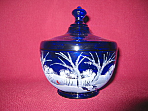 Fenton Cobalt Canaan Valley Candy Box