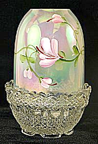 Fenton Pink Floral On French Opal. Fairy Ligh
