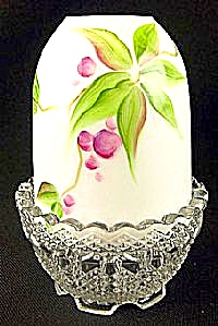 Fenton Leaf & Berry On Milk Glass Fairy Light
