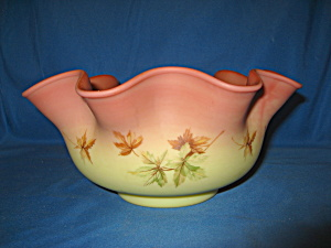Fenton Autumn Leaf On Burmese Ruffled Bowl