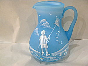Sky Blue Mary Gregory Pitcher (Image1)