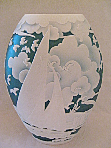 Indigo Blue Sail Away Sandcarved Cameo Vase