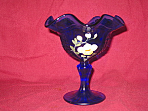 Fenton Golden Flax On Cobalt Empress Comport