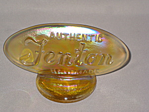 FENTON BUTTERCUP IRIDIZED OVAL DEALER LOG   (Image1)