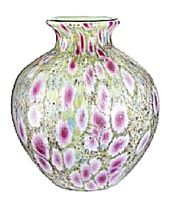 Monet's Garden Frit Covered Milk Glass Vas (Image1)