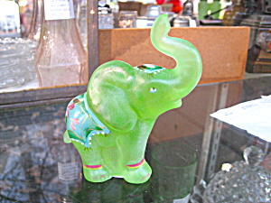 Frosted Key Lime Handpainted Parade Elephant
