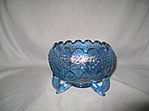 FENTON TWILIGHT BLUE CARNIVAL ORANGE TREE BOW (Image1)