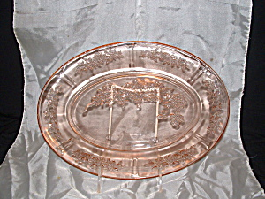 Pink Sharon Cabbage Rose Oval Platter