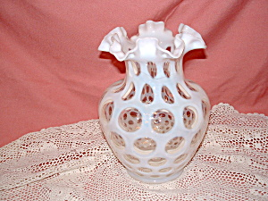 Fenton French Opalescent Coin Dot Dc Vase