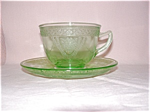 Green Georgian Lovebirds Cup & Saucer Set