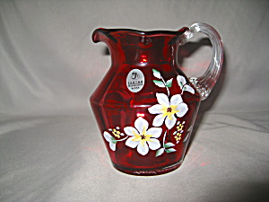 FENTON CRANBERRY RIB OPTIC FLORAL PITCHER     (Image1)