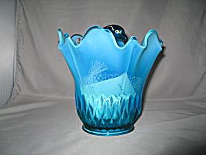 ROBIN'S EGG BLUE DOLPHIN SWUNG VASE        (Image1)