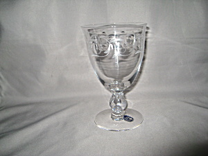 Heisey Lariat Blown Water Goblet W/ Moonglo C