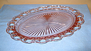 Pink Old Colony Open Lace Oval Platter