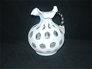 Fenton French Opalescent Coin Dot Handled Jug