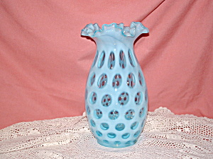 Fenton Blue Opalescent Coin Dot Vase