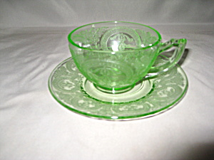 Green Depression Horseshoe Cup & Saucer