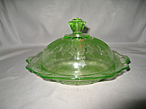 GREEN PRINCESS DEPRESSION BUTTER DISH (Image1)
